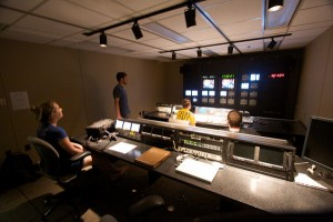 Students in Television Production Techniques work in the UMBC TV studio control room